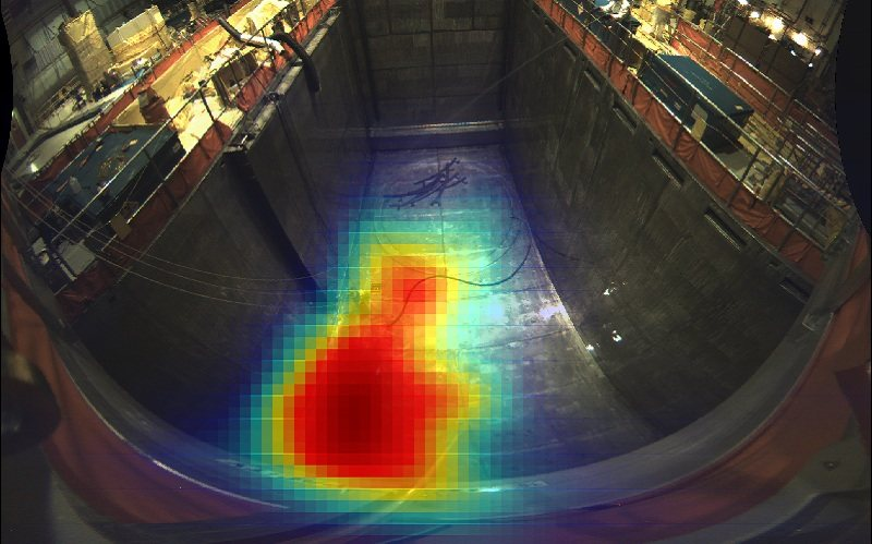 H3D H100 gamma-ray radiation camera image showing a hot area in a reactor pit.